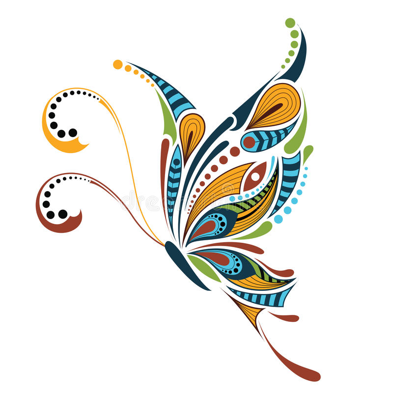 Free Patterned Colored Butterfly. African / Indian / Totem / Tattoo Design. Stock Photography - 65550672