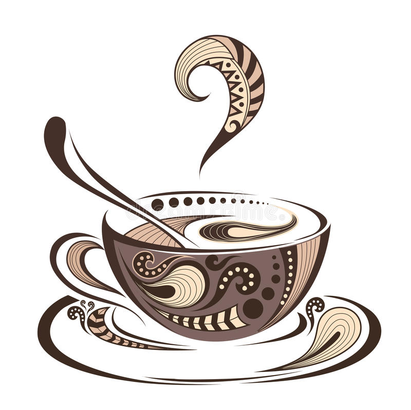 Free Patterned Colored Cap Of Coffee. Batik/tattoo Design. It May Be Used For Design Of A T-shirt, Bag, Postcard And Menu. Stock Images - 65749884