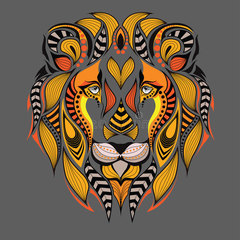 Patterned colored head of the lion. African / indian / totem / tattoo design. It may be used for design of a t-shirt, bag royalty free illustration
