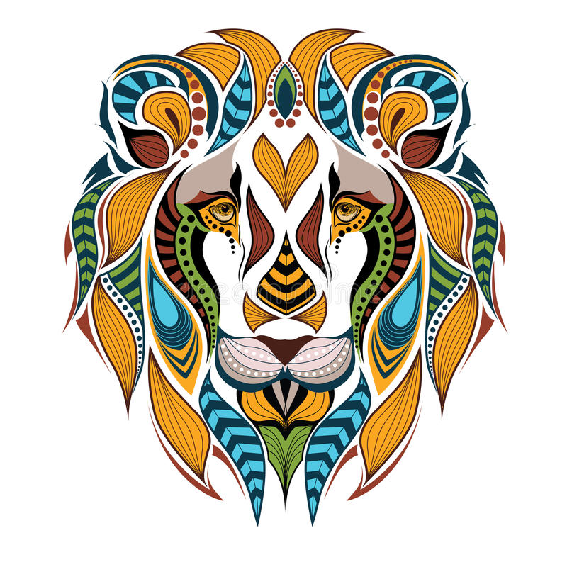 Patterned colored head of the lion. royalty free illustration