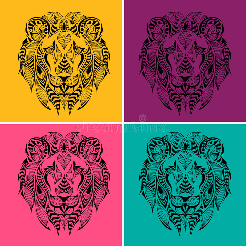 Patterned colored head of the lion. Pop art style vector illustration. stock illustration