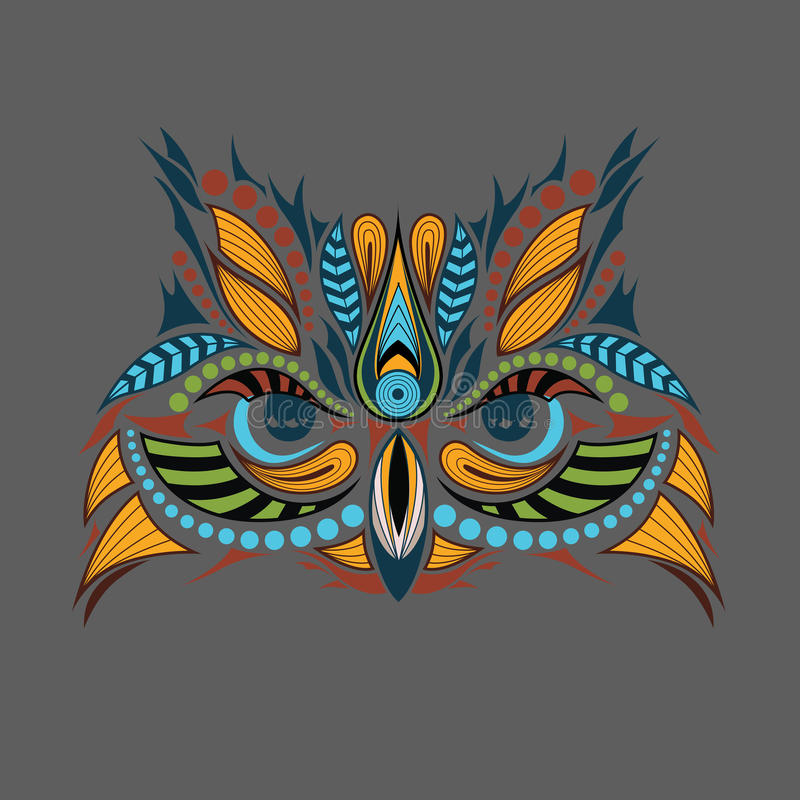 Patterned Colored Head Of The Owl. African / Indian