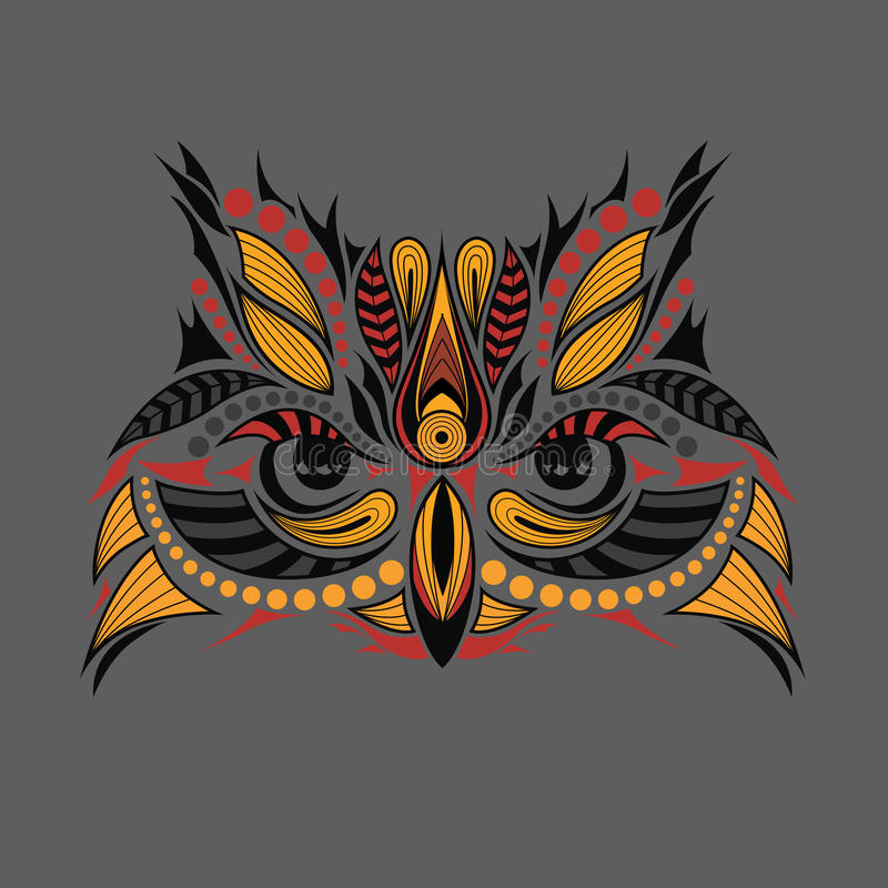 Patterned Colored Head Of The Owl. African / Indian / Totem / Tattoo Design. It May Be Used For