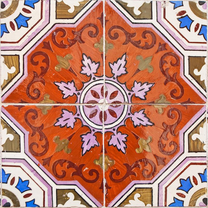 Patterned colored tiles on houses symbol of Lisbon. European authentic style royalty free stock photo