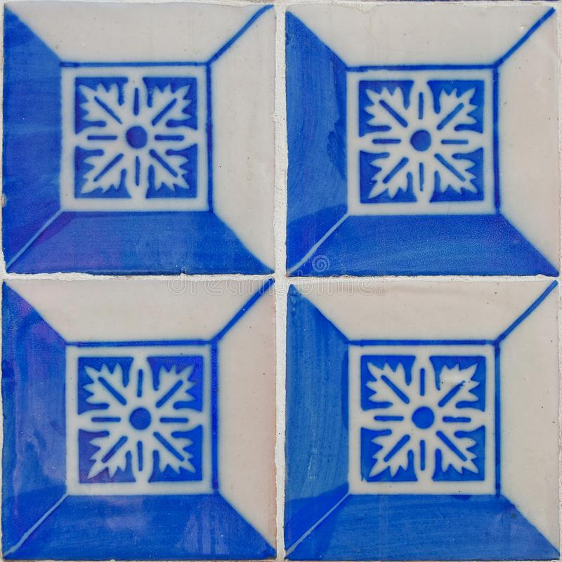 Patterned colored tiles on houses symbol of Lisbon. European authentic style stock photos