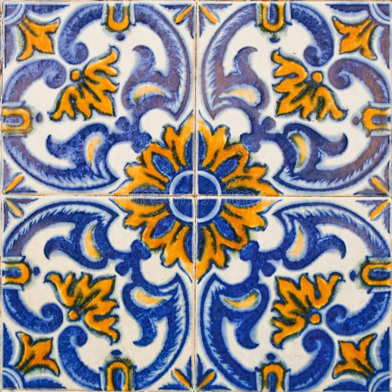 Patterned colored tiles on houses symbol of Lisbon. European authentic style stock images
