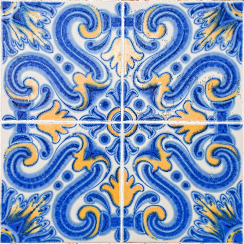 Patterned colored tiles on houses symbol of Lisbon. European authentic style stock image