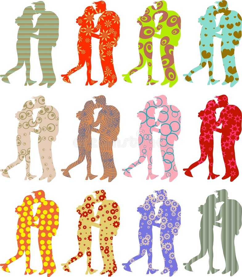 Patterned couple vector illustration