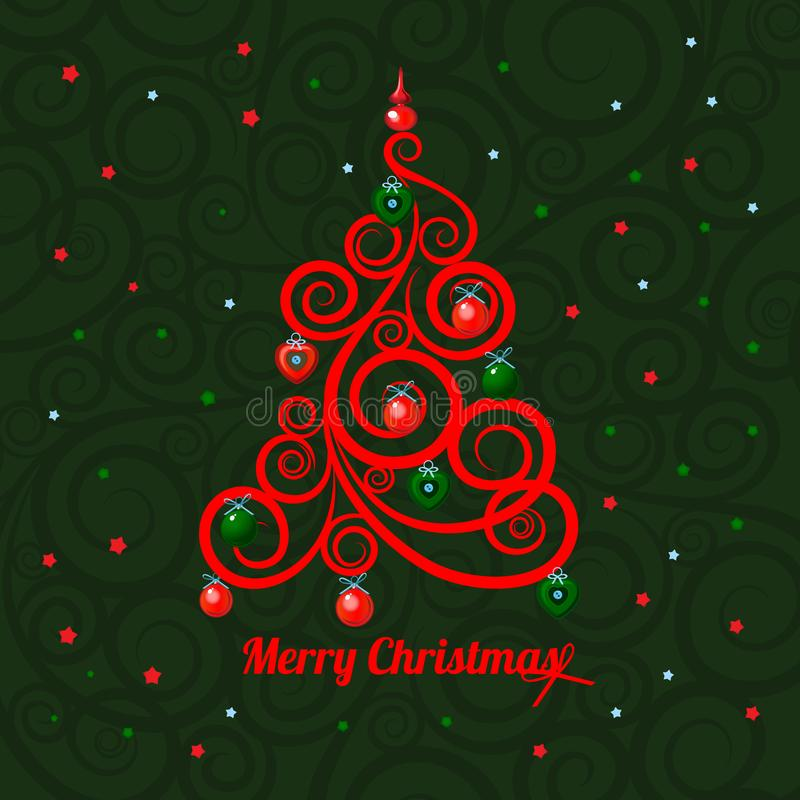 Patterned florid Christmas tree on a green background and the words Merry Christmas. Sample of the poster, party vector illustration