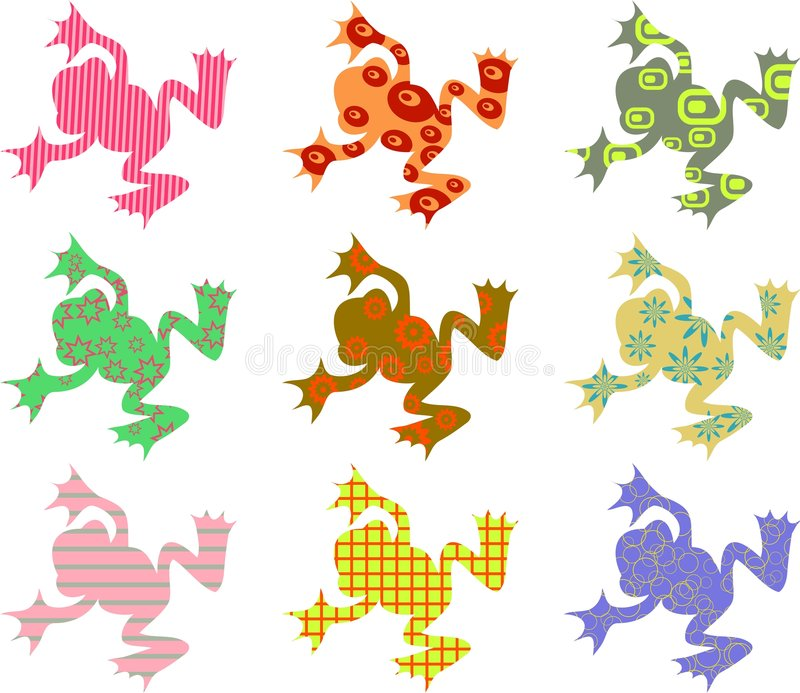 Patterned frogs vector illustration
