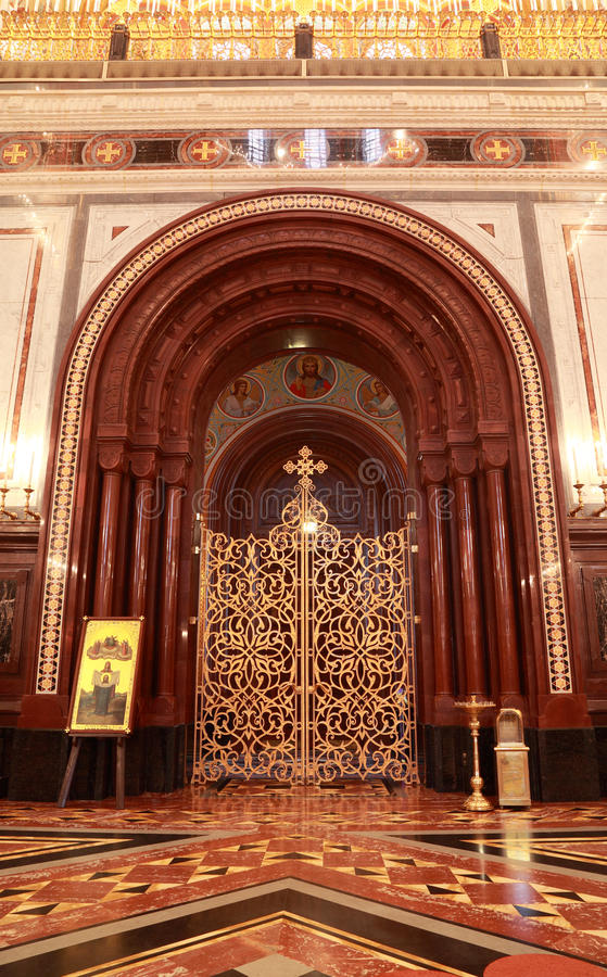 Download Patterned Gilt Door In Arch Inside Cathedral Stock Image - Image: 19152889