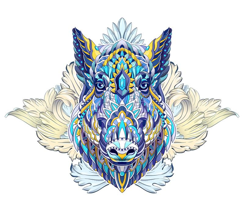 Patterned head of boar. Pig. Swine. Symbol of 2019. Tattoo design. It may be used for design of a t-shirt, bag, postcard, a poster and so on stock illustration