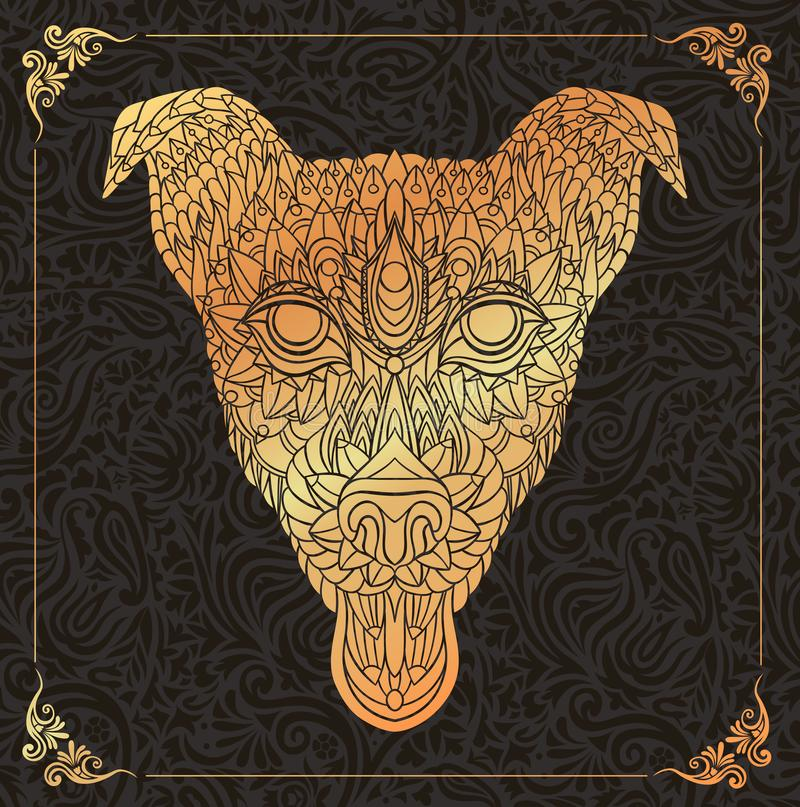 Patterned head of dog on a floral background royalty free illustration
