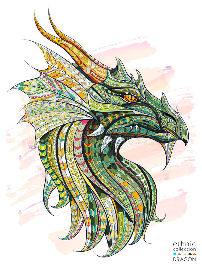 Patterned head of the dragon. On the grunge background. African / indian / totem / tattoo design. It may be used for design of a t-shirt, bag, postcard, a