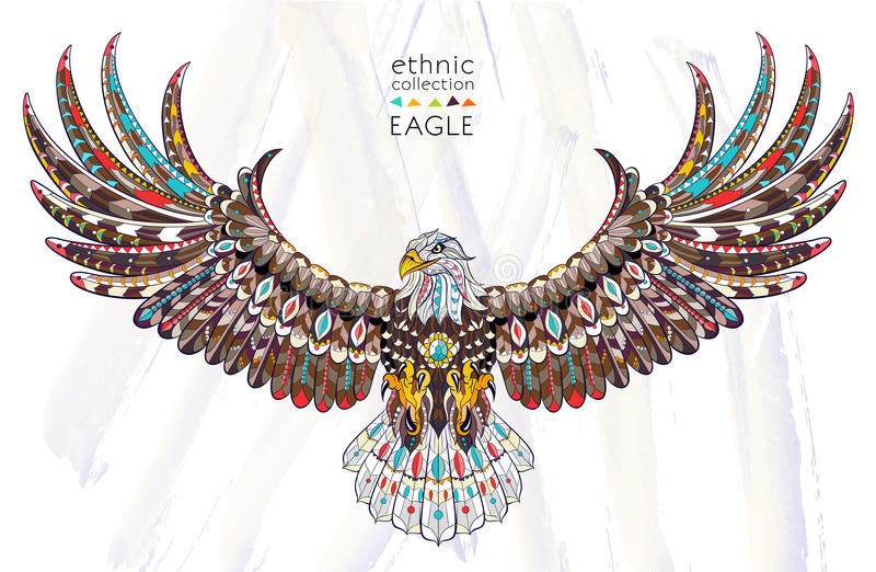 Patterned head of eagle royalty free illustration