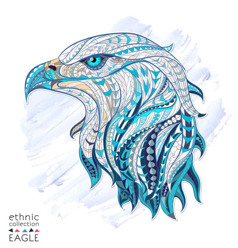 Patterned head of eagle. On the watercolor background. African / indian / totem / tattoo design. It may be used for design of a t-shirt, bag, postcard, a poster
