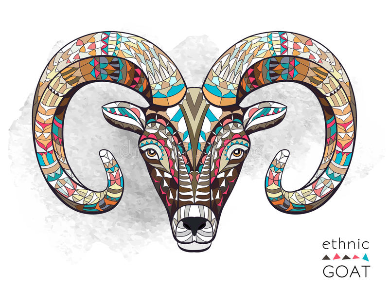 Patterned head of goat. On the grunge background. African / indian / totem / tattoo design. It may be used for design of a t-shirt, bag, postcard, a poster and stock illustration