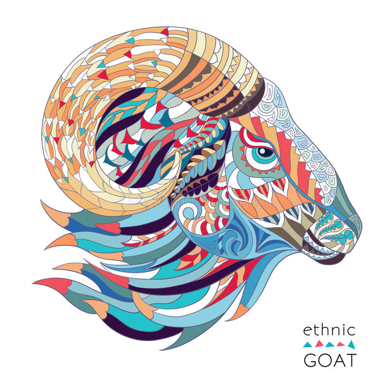 Patterned head of the goat. On the grunge background. African / indian / totem / tattoo design. It may be used for design of a t-shirt, bag, postcard, a poster vector illustration