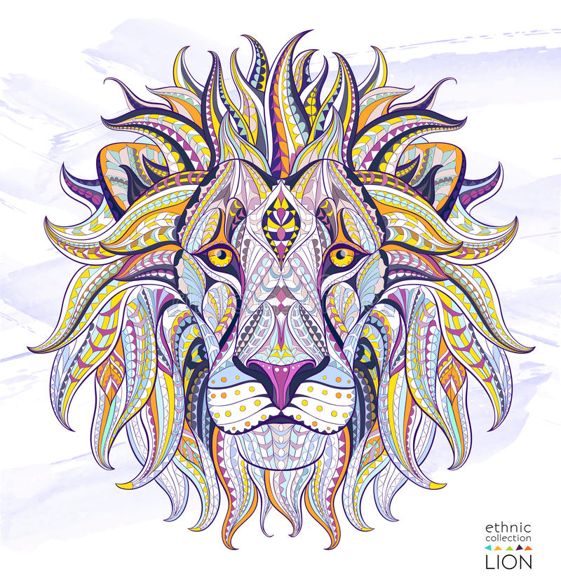 Patterned head of the lion vector illustration