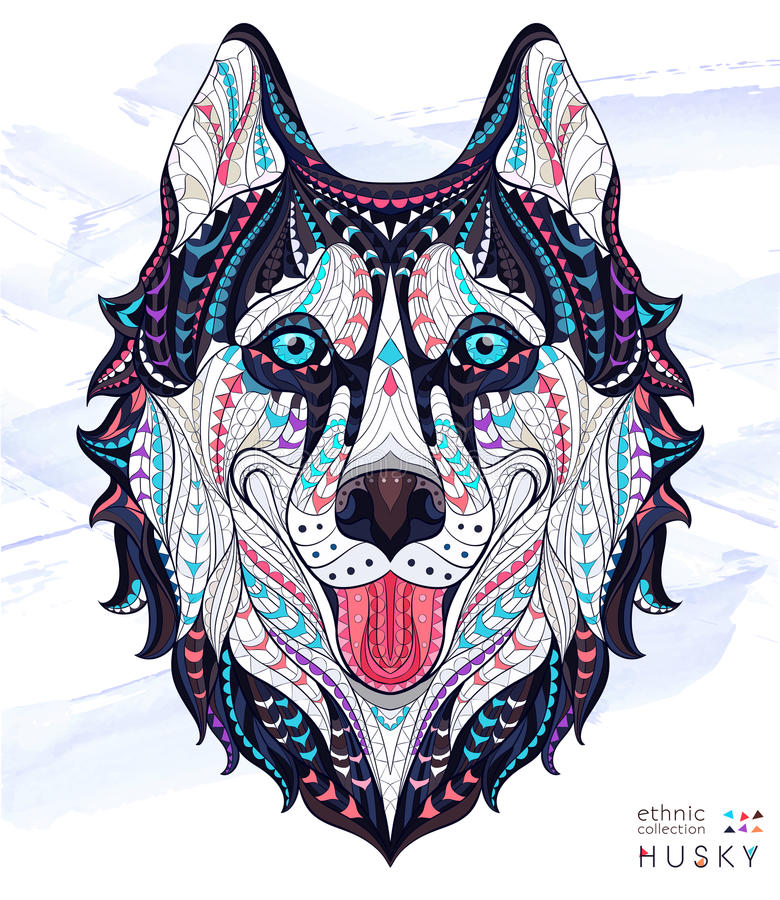 Free Patterned Head Of The Dog Husky Royalty Free Stock Image - 68585016