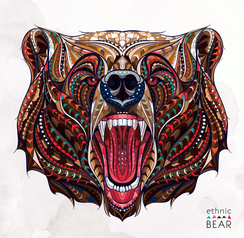 Free Patterned Head Of The Growling Bear Royalty Free Stock Image - 68585466