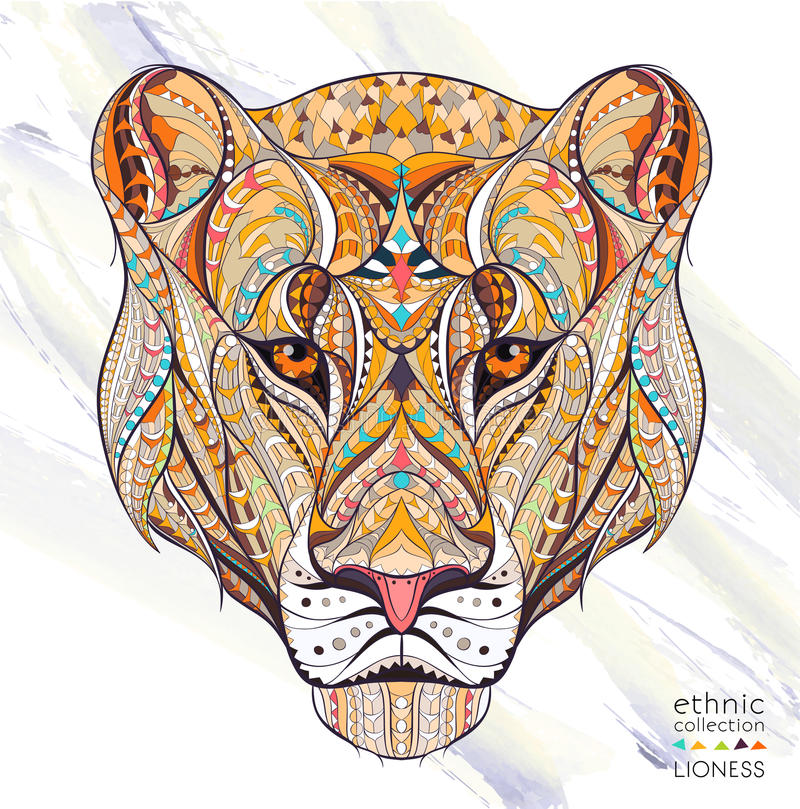 Free Patterned Head Of The Lioness Royalty Free Stock Photography - 68585787