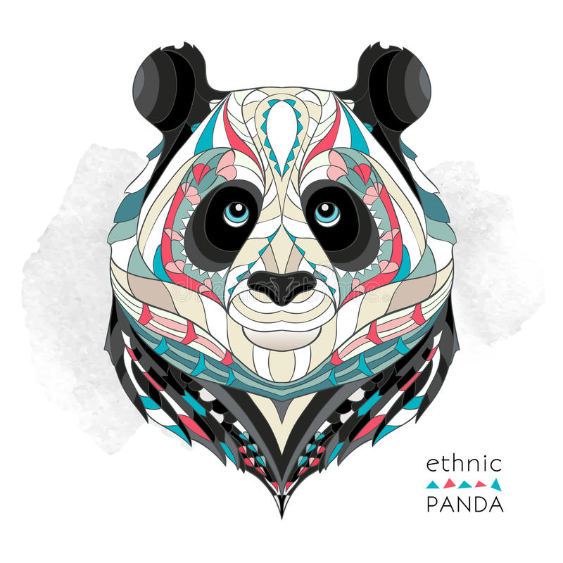 Patterned head of the panda vector illustration