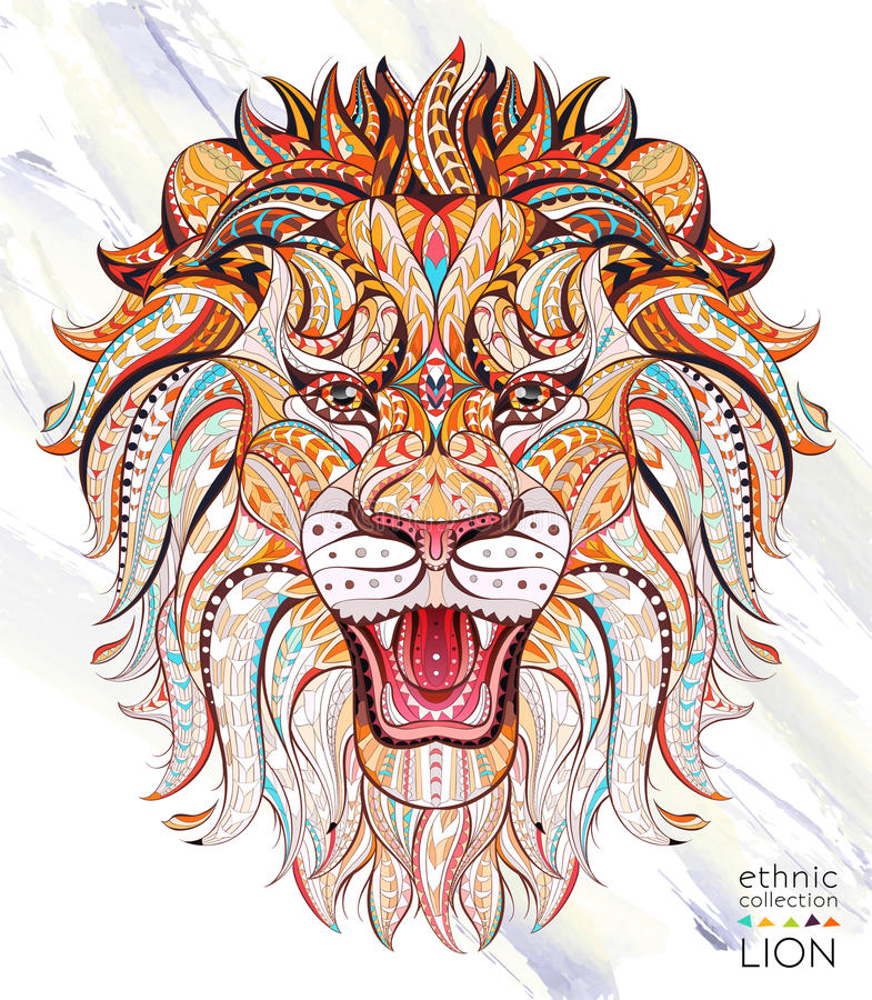 Patterned head of the roaring lion. On the grunge background. African / indian / totem / tattoo design. It may be used for design of a t-shirt, bag, postcard, a