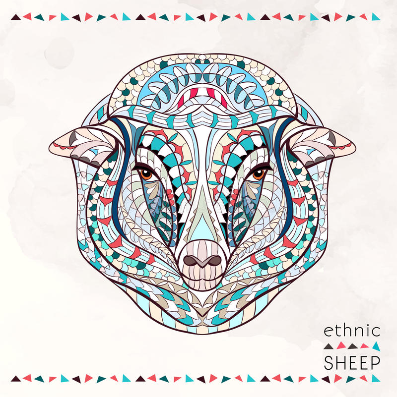 Patterned head of sheep royalty free illustration