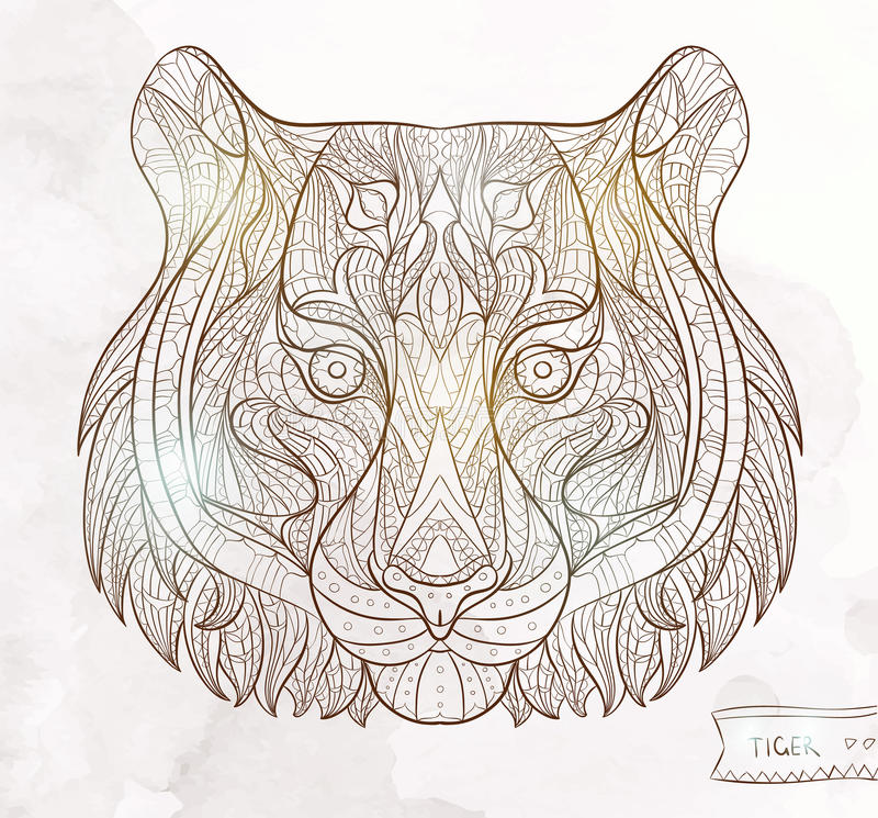 Patterned Head Of The Tiger Stock Vector