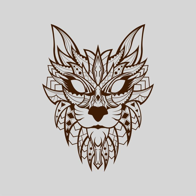 Patterned head of wild cat African Style With BrownLine royalty free stock photos