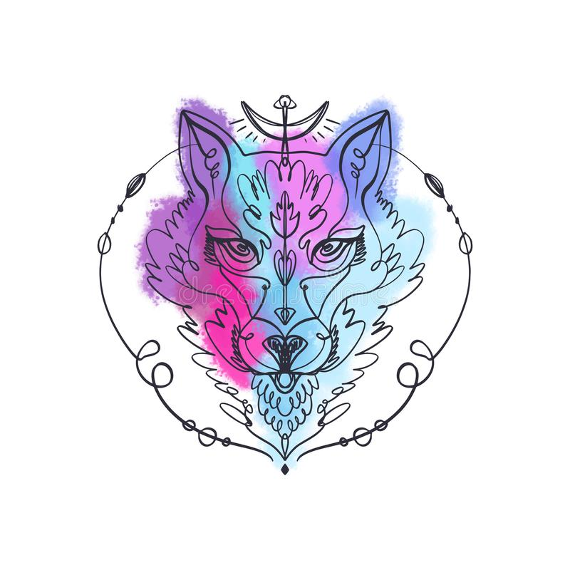 Patterned head of the wolf, animal face on background. African or indian totem, boho style, flash tattoo design stock illustration
