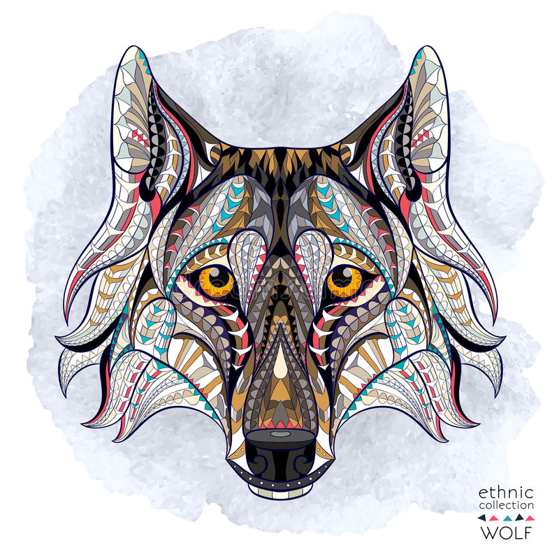 Patterned head of the wolf stock illustration
