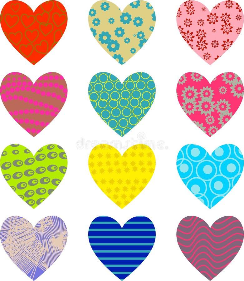 Patterned hearts vector illustration