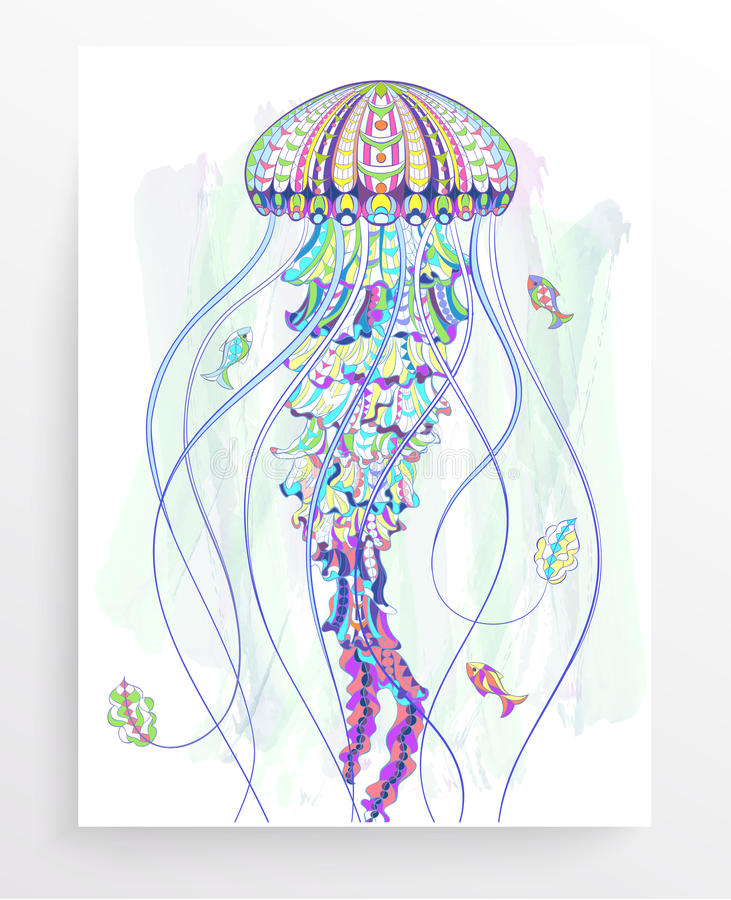 Patterned jellyfish. On the grunge background. Poster with medusa. Tattoo design. It may be used for design of a t-shirt, bag, postcard, a poster and so on vector illustration