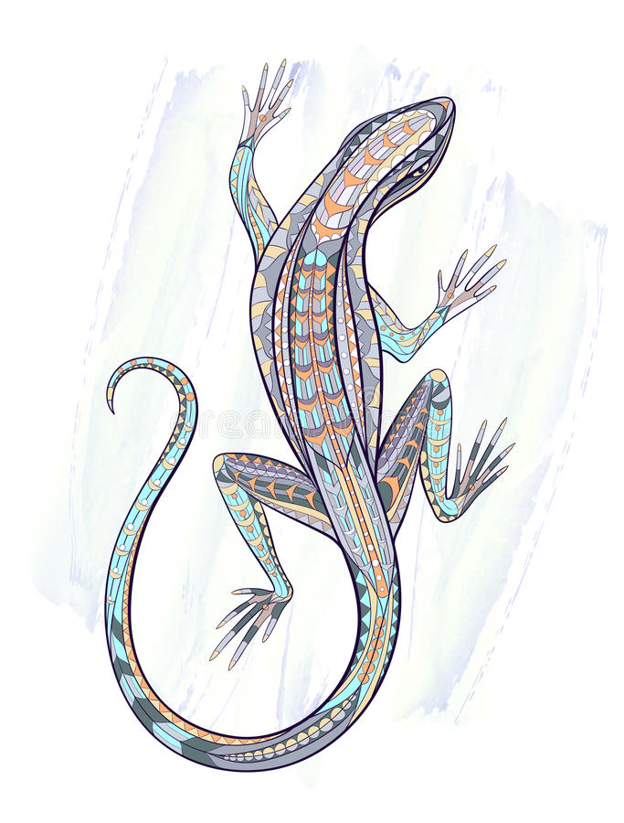 Patterned lizard royalty free illustration