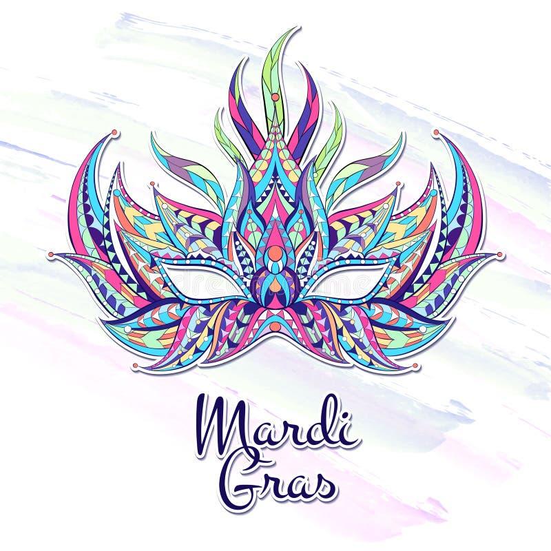 Patterned mask on the grunge background. Mardi Gras festival royalty free illustration