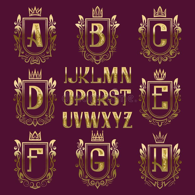 Set Of Medieval Coat Of Arms With Cyrillic Letters  Ukrainian And