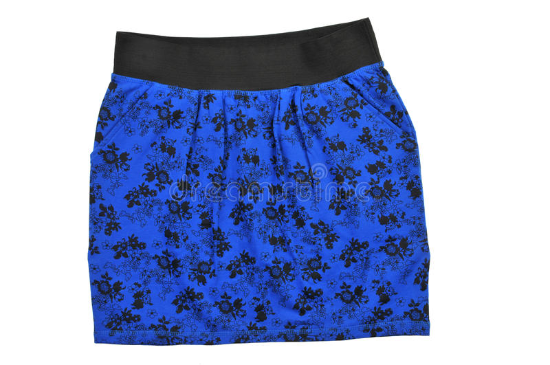 Patterned mini skirt isolated on white stock photography