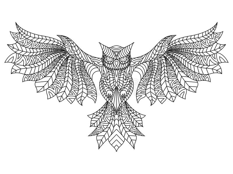 Download Patterned Owl Coloring Page Stock Illustration