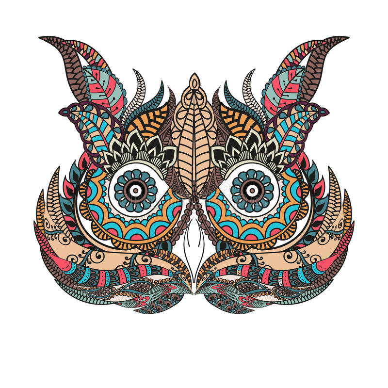 patterned owl on the grunge background african indian totem tattoo design it may be used. Black Bedroom Furniture Sets. Home Design Ideas