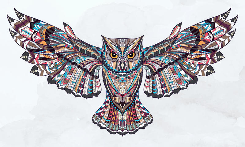 Patterned owl. On the grunge watercolor background. African / indian / totem / tattoo design. It may be used for design of a t-shirt, bag, postcard, a poster