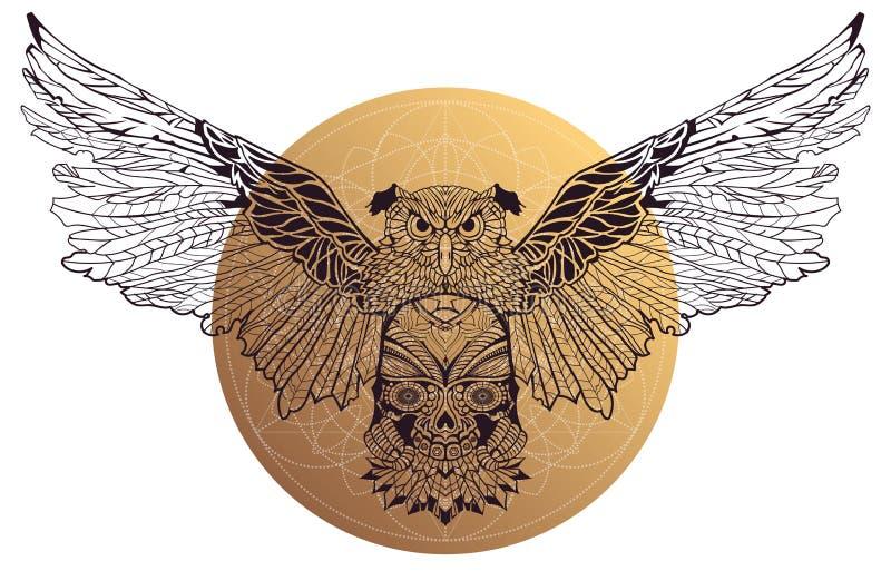 Patterned  owl on white background stock illustration