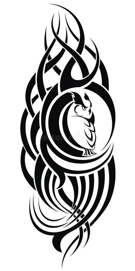 Patterned owl on white background. Tattoo design royalty free illustration