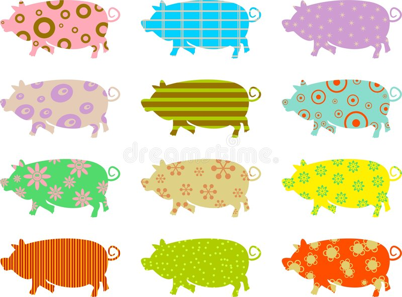 Patterned pigs royalty free illustration