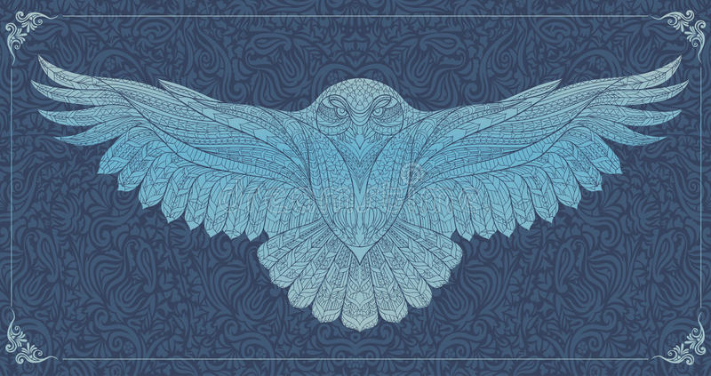 Patterned snowy owl stock illustration