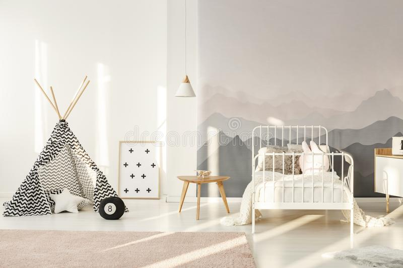 Teepee in kids room royalty free stock images