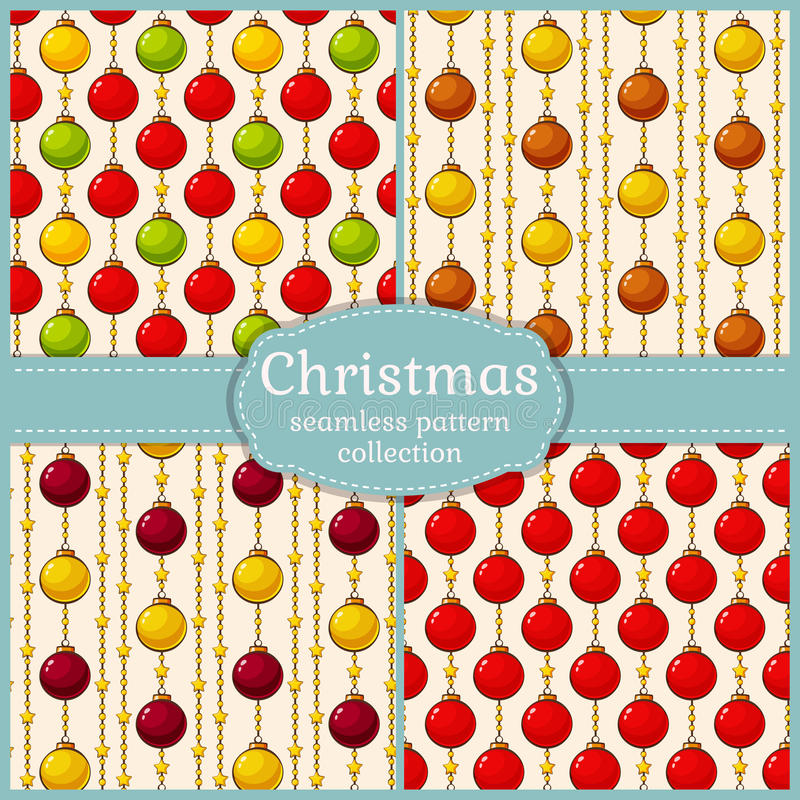 Patterns with christmas balls. Seamless backgrounds. Vector set. vector illustration