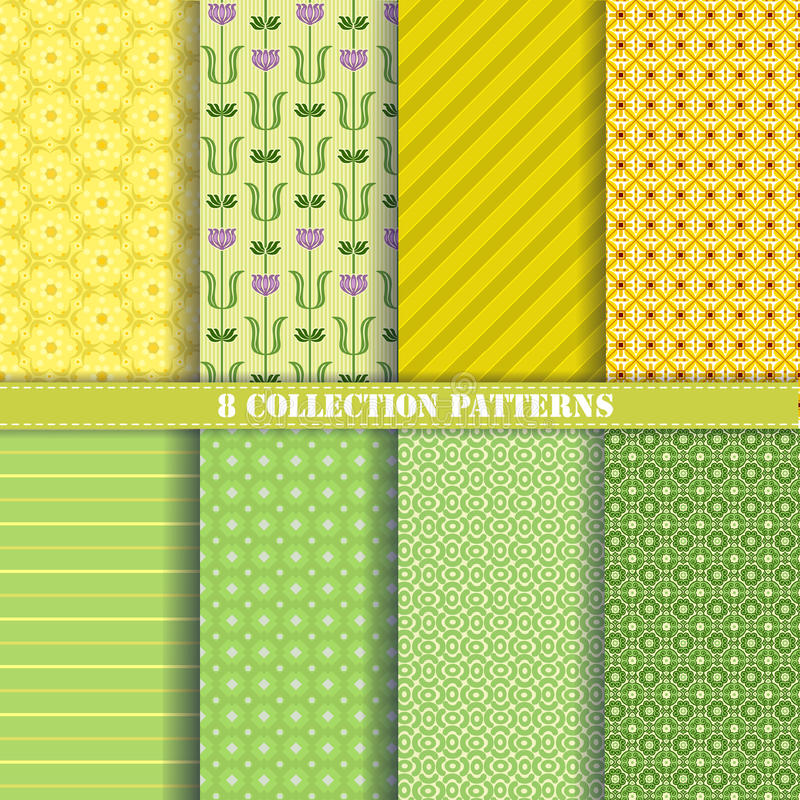 Patterns collection green royalty free stock photos