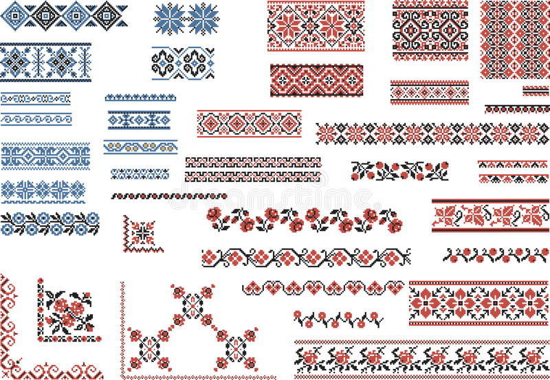 Patterns for Embroidery Stitch vector illustration